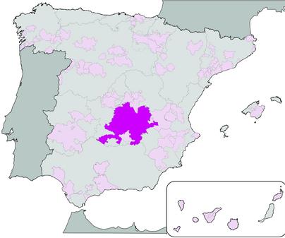 Mapa de Denominación de Origen Vino de la Mancha
