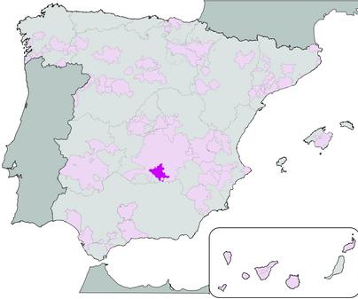 Mapa de Denominación de Origen Vino de Valdepeñas