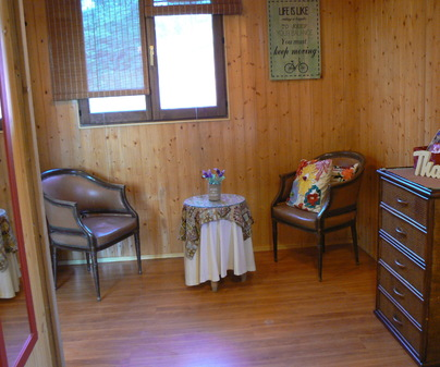 La Canadiense Log Cabin dormitorio