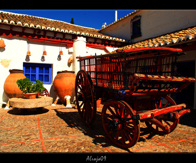 Cuadro del Patio interior Venta El Quijote en Puerto Lápice (Ciudad Real)